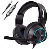 NUBWO PS4 Xbox one Headset Stereo Wired Game Headset with Noise reduction Mic, Over Ear Headphones with Volume&Mute Control for MAC/Playstation 4/Xbox 1-Blue