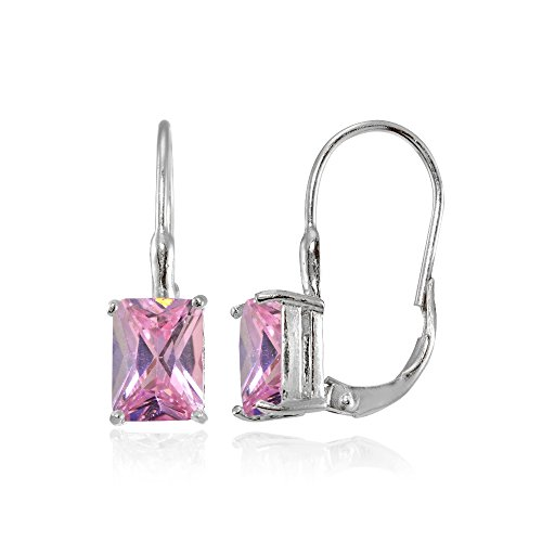 Sterling Silver Light Pink Cubic Zirconia Emerald-Cut