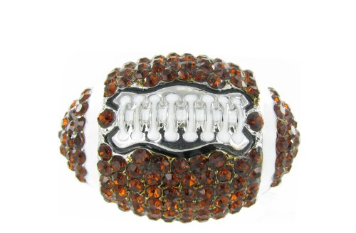 Large Dome Football Rhinestone Stretch Ring - Dark Topaz Crystals with White Enamel Stripes