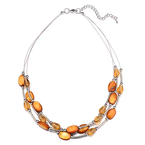 Pearl&Club Crystal Layered Statement Necklace for Women - Choker Necklace with Chunky Silver Chain, Birthday Gifts for Women (13-Orange)
