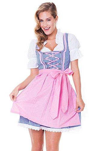 3 tlg. Dirndl-Set - Trachtenkleid, Bluse, Schürze, Gr.36, blau-rosa, ALM744