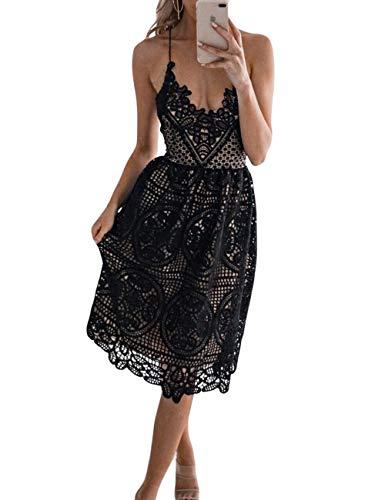 FUZEELY Women's Sexy Lace Spaghetti Strap V-Neck High Waist Back Cross Knee-Length Applique Lantern Summer Dress ()