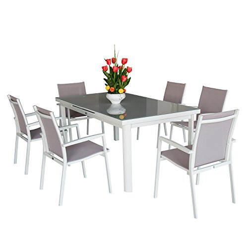 Magari Furniture Aluminum MA744-865 7 Piece Indoor Outdoor Patio Garden Pool Rectangular Automatic Extendable Dining Table Set, White