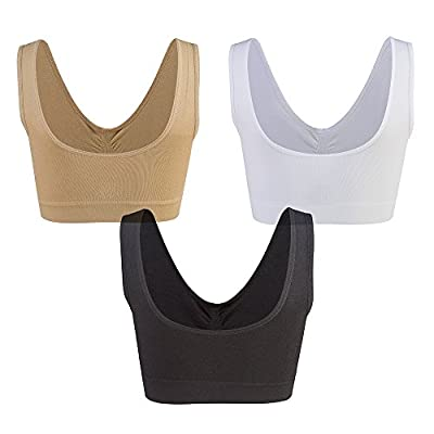 Lemef 3-Pack Seamless Sports Bra Wirefree Yoga Bra with Removable Pads for Women at Women's Clothing store