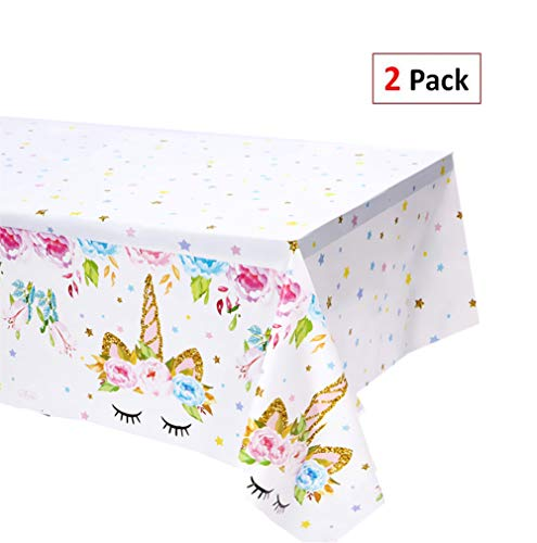 EXIJA 2 Pack Unicorn Plastic Table Cover, 51