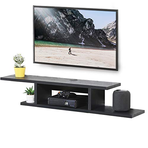 (FITUEYES Wall Mounted Media Console Floating TV Stand Component Shelf Black Grain DS211801WB)