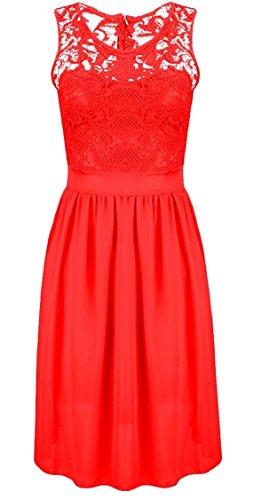 Party s Swing Chiffon Summer Sleeveless Red Lace Women Slim Dress Jaycargogo 5ZOn08wZ