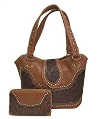 Montana West brand western style ladies purse with concealed handgun pocket on back. Made with high quality PU leather and tooled genuine leather, a center flap cover over to front of purse, decorated with silver studs. Purse features: Zipper...