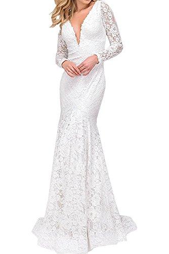Marie Weiß Abendkleider Figurbetont Braut Promkleider Elegant Langarm Spitze Meerjungfrau La Partykleider Festlichkleider dPWFad
