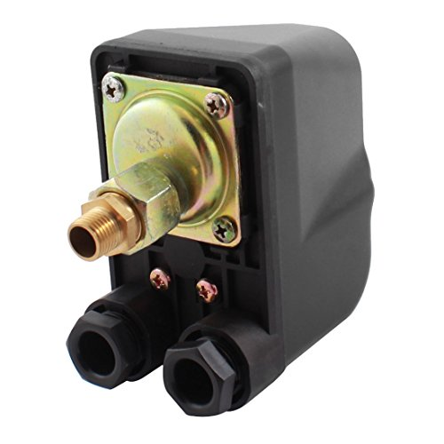 Aexit AC 220-240V Control electrical 16A 2.1-3.5bar 1/4PT Male Thread 1 Port Single Pole Automatic Self Priming Water Pump Pressure Switch Valve ()