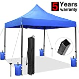 Tentking Ez Pop-Up Canopy Tent 10 x 10 ft Blue, Commercial Instant Shelter Market Stall Canopy with Wheeled Carrying Bag, 4 Weight Bags and 4 Stakes