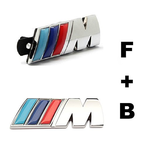 yling Accessories Chromed Emblem Badge Decal Sticker M Front Grille Blue + Back For BMW X1 X3 X5 X6 M3 M5 E46 E39 E36 E60 E34 E90 E65 E70 E53 E87 (E34 Grille)