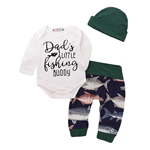 Little Fishing Buddy Newborn Boy Girl Clothes Lengthy Sleeve Cotton Romper Tops+Long Pant Trouser Loath 3PCS Baby Clothing Arranged Full Moon Gift