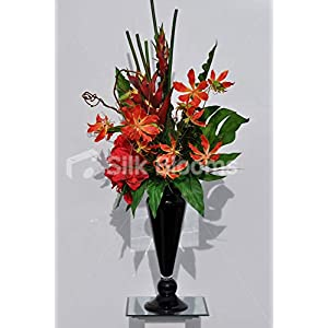 Silk Blooms Ltd Artificial Red Amaryllis and Orange Gloriosa Vase Display w/Heliconia and Contorted Willow 23