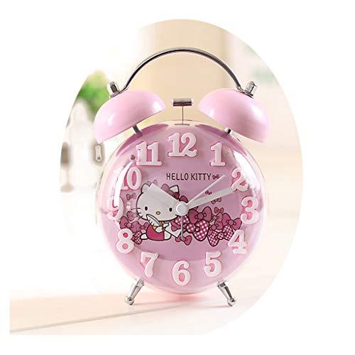 Despertador JXLBB Rosa Ronda Luminosa Luz Fluorescente Personalidad Estudiante Reloj Mini Creativo Lado de la Cama Barrido...