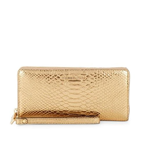 (Jet Set Travel Metallic Snake-Embossed-Leather Continental Wristlet)