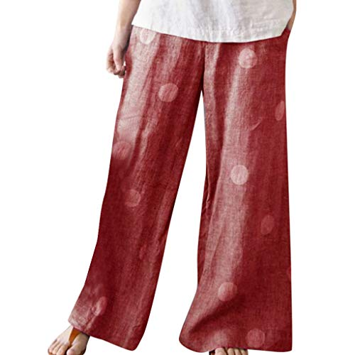Gamma Shell Pants - JustWin Women's Dot Print Wide-Leg Trousers Summer Loose Tightness Workout Waistband Beach Pants Red