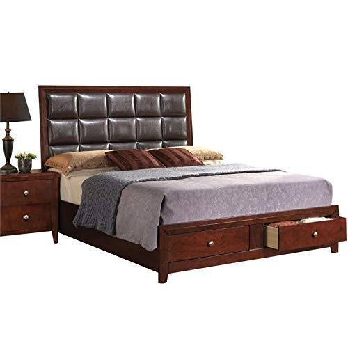 ACME Ilana Brown Faux Leather Queen Bed with Storage