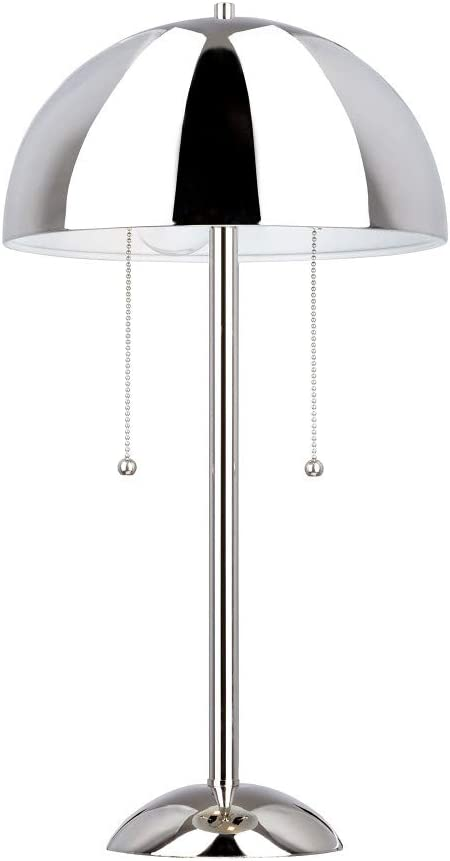 """Amazon Brand – Rivet Modern Metal Dome-Shaped Table Lamp with Dual Pull Chain Switches, LED Bulbs Included, 21""""H, Chrome"""