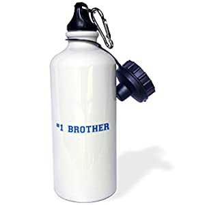 """3dRose wb_151596_1 """"#1 Brother-Number One Bro-dark blue text-Sibling Gifts for big elder younger little brothers"""" Sports Water Bottle, 21 oz, White"""