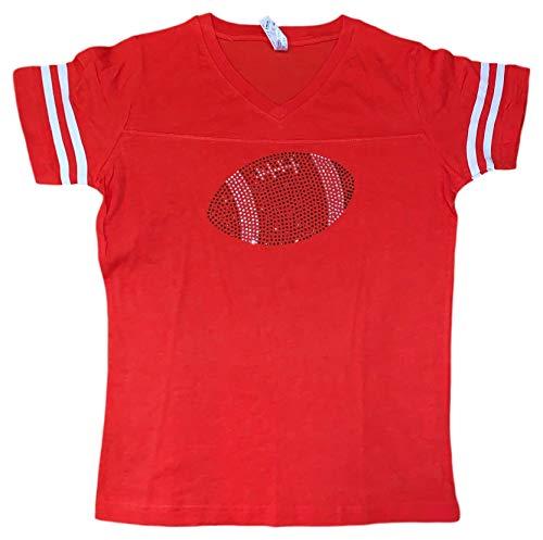 (FanGarb Womens/Girls Rhinestone Bedazzled Football v-Neck tee Shirt (XLarge, Orange))