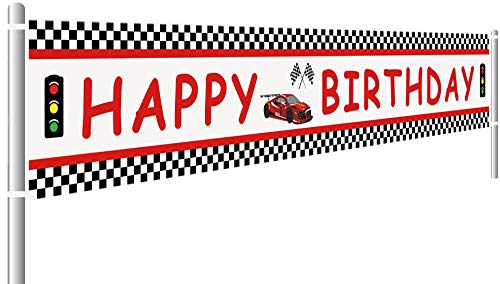 Lager Race Car Happy Birthday Banner, Red Racing Themed Party Supplies & Decoration Backdrop Background Photo Booth Props (9.8 x 1.5 -
