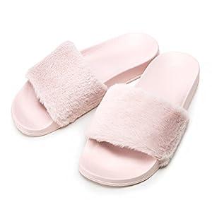 OCICI Women Slide Slipper Faux Fur Soft Flat Slide Slippers (7/8, Pink)