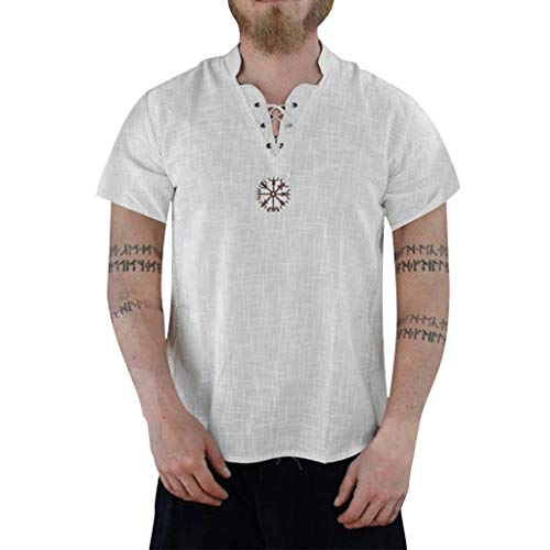 (Men's Summer Fashion Pure Cotton and Hemp Short Sleeve Comfortable Top)