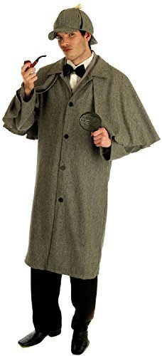 (Mens Sherlock Holmes 1920s Victorian Detective Murder Mystery Party Fancy Dress Costume Outfit M L XL (Medium))