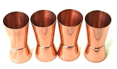 STREET CRAFT 100% Solid Pure Copper Jigger Shot Glasses Double Jiggers - 2oz / 1oz,(30 ML /20 ML)