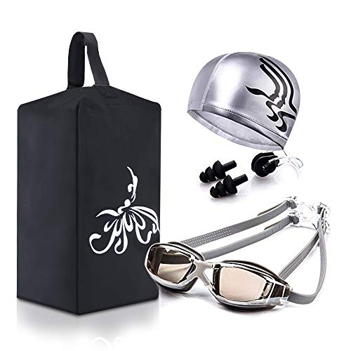 youyou Swimming Gear Set 4 Pack:Swim Cap Mirrored Goggles Swim Bag Ear Plugs for Adults and Young ()