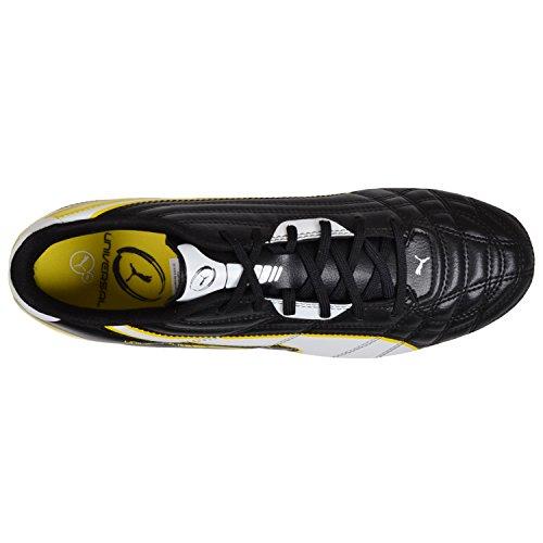 Puma Universal H8–Hombre–Zapatillas de rugby para suave suelo–Negro/Blanco/Amarillo