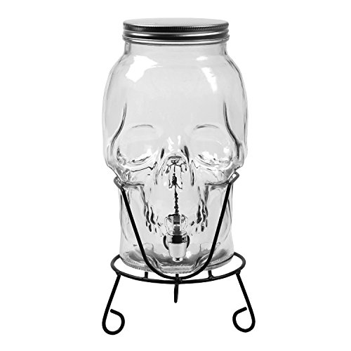 What on Earth Skull Shaped Glass Beverage Dispenser - 168 oz / 5 Liter Capacity -