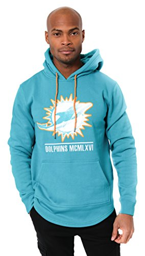 Colors Miami Dolphins (Icer Brands NFL Miami Dolphins Men's Fleece Hoodie Pullover Sweatshirt Embroidered, X-Large, Aqua)