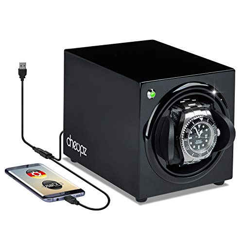 Cheopz Black Single Watch Winder Box for Automatic Watch Dual Powered by Batteries & USB