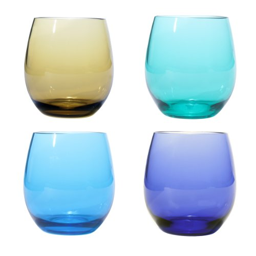 (Oenophilia Plastic Stemless Wine Glasses Jewel Tone Colors - Set of)