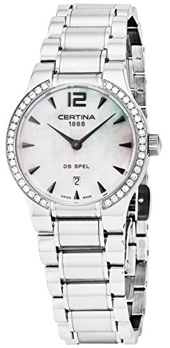 Certina DS Spel 30MM Mother of Pearl dial with Date Real Diamond Watch For Women - Luxury Swiss Made Analog Quartz Stainless Steel Ladies Watch C012.209.61.117.00 (Spelletjes Halloween)