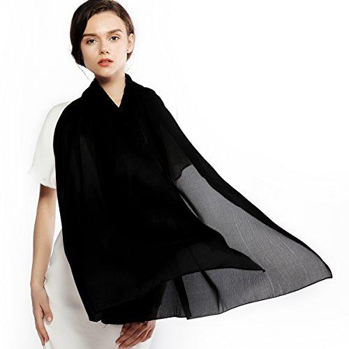 Shawl Neck (Silk Scarf for Women 100% Silk Sunscreen Long Large Lightweight Satin Shawl Wrap Headscarf)