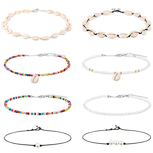 Sunssy 8PCS Pearl Bead Shell Choker Necklace for Women Handmade Cored Necklace Hawaii Wakiki Necklaces Set Adjustable (8PCS) ()