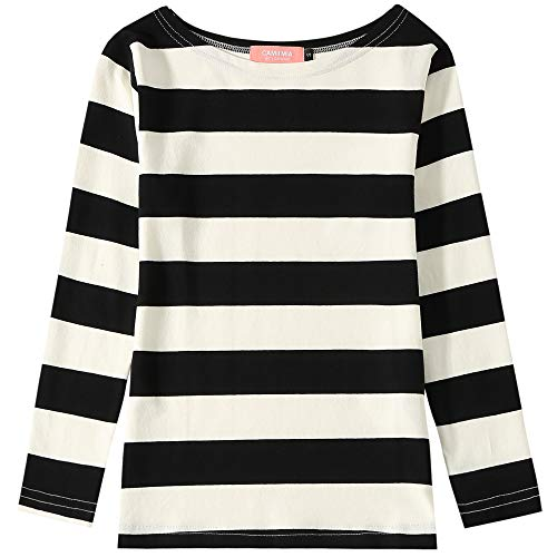 Camii Mia Big Girl's Classic Long Sleeve Cotton Stripe Tee T-Shirt (Small(7-8), Black White)