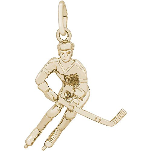 Player Charm Gold Plated (Rembrandt Charms Hockey Player Charm, Gold Plated Silver)
