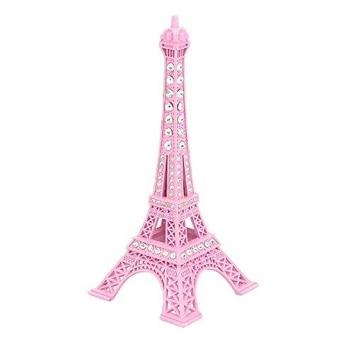 uxcell Rhinestone Decor Eiffel Tower Statue Vintage Model Ornament 13cm Pink