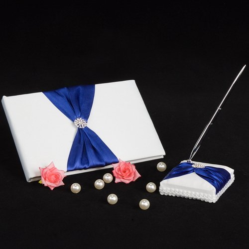 Meiysh Satin Bow Rhinestone Flower White Base Wedding Accessories Guest Book and Pen Set with Rhinestone (Navy Blue)