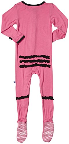 KicKee Pants Ruffle Footie (Toddler/Kid) - Winter Rose/Midnight-4T