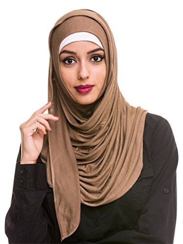 Kashkha Women's Ready To Wear Instant Hijab Scarf , Khaki, 22inches Width*77inches Length /(55cm*200cm) by Kashkha