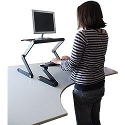 Workez Standing Desk Conversion Kit - Adjustable Ergonomic Sit to Stand Office Desk for Laptops & Desktops (BLACK)