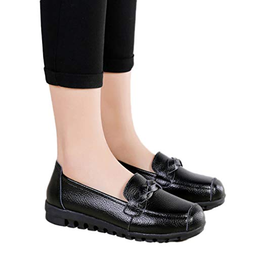 Todaies Leisure Women Round Toe Leather Slip-On Shoes Flat Single Shoes Peas Boat Shoes Black