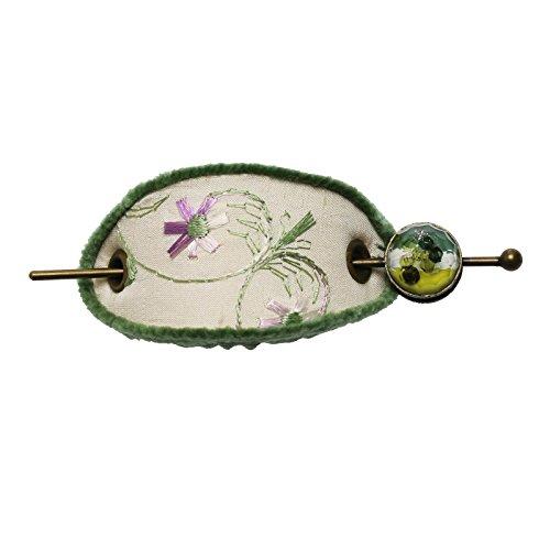 Tamarusan Hairpin Barrette Hair Ornament Japanese Kimonos Kimono Hair Accessories Handmade Green by TAMARUSAN