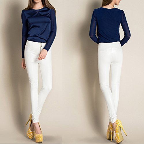 Laixing Womens High Waisted Slim Fit Pu Leather Pants Skinny Stretch Leggings Trousers White