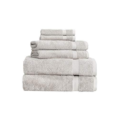 SALBAKOS 6 Piece Bath Towel Set - Turkish Luxury Hotel & Spa Collection - Oeko-TEX Organic - Eco-Friendly Turkish Cotton (Stone)